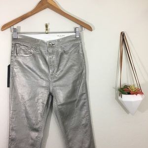NWT Rag & Bone high rise silver metallic skinny